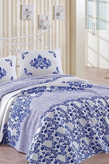 Lady Moda Hüma Mavi Tek Kişilik Pike Seti Renkli